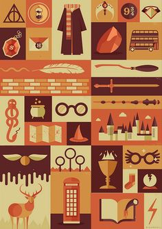 Harry Potter Items by Risa Rodil #harrypotter #illustration