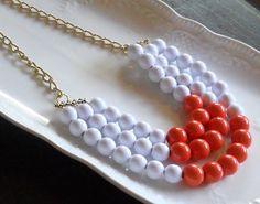 White and Coral Statement Bib Necklace by AdornmentsbyWendi, $25.00