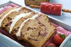 Strawberry Bread with White Chocolate Truffle Icing. Made with fresh strawberries, mascapone cheese and sweetened condensed milk topped off with a sweet white truffle icing! Quick Bread Recipes, Baking Recipes, Cake Recipes, Dessert Recipes, Breakfast Recipes, Strawberry Bread Recipes, Strawberry Cakes, Strawberry Picking, White Chocolate Truffles