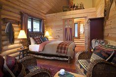 luxury log cabins, yoho national p Log Cabin Living, Log Cabin Homes, Log Cabin Bedrooms, Rustic Bedrooms, Lodge Bedroom, Cozy Bedroom, Bedroom Ideas, Bedroom Designs, Bungalows