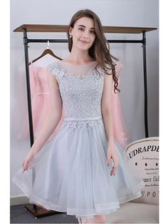 Scoop A-line Lace-up Tulle Short Prom Dresses ,Cute Homecoming Dresses,ED210019 #fashion#promdress#eveningdress#promgowns#cocktaildress