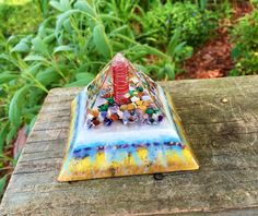 Orgonite Pyramid - Orgone Pyramid Generator with Quartz Point, amethyst, lapis lazuli, citrine, garnet, chakra stones, copper by 432oneness on Etsy