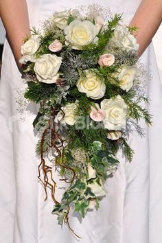 Winter Inspired Artificial Fresh Touch Ivory Rose Cascade Bridal Bouquet w/ Pink Rose Buds and Frosted Foliage- Silk Flowers #artificialflowers #wedding #weddingflowers #bouquet #flowers #bridalbouquet #silkflowers #roses #foliage #winter #cascade #rosebouquet #gypsophila