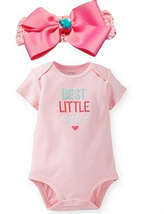 "Baby Girls Best Little Sister Bodysuit with Pink Bow Headband Size 6 Months. Genuine Merchandise Licensed by Carter. Pastel Pink One Piece Bodysuit with the words ""Best Little Sister"" Embroidered on Front. Size 6 Months (12.5 - 16.5 lbs). Pink Crochet Headband with Gross Grain Bow & Blue Heart Rhinestone Embellishment. 100% Cotton, Machine Washable."