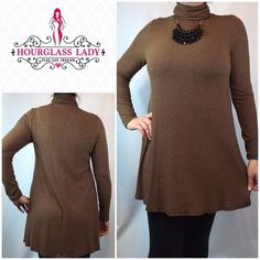 """💕Textured Turtleneck Aline Fit & Flare Dress Gorgeous Textured Turtleneck Aline Dress Brown & black textured stretch fabric Wear as a dress or over leggings as a tunic Size S, new, no tags Bust 17"""" across (unstretched), 34"""" long 95% rayon, 5% Lycra, very stretchy (model is size 12 & wearing a L) ‼️PRICE FIRM UNLESS BUNDLED‼️ Create a bundle for 15% off! Thanks for looking😋✌️❌NO TRADES❌ Hourglass Lady Tops Tunics"""
