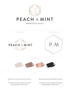 Geometric Hexagon Logo Design Brand Kit Inc. Photography Watermark -  Rose Gold Brand Package