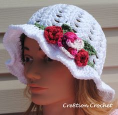Adult Spring hat with Spring Blossoms - Crochet Me