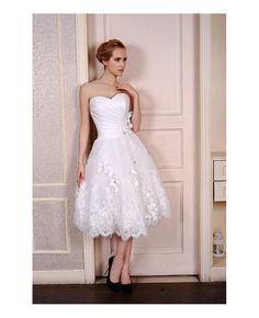 A Line Tea Length Wedding Dress