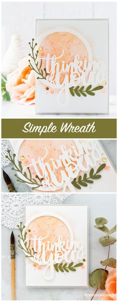 Altenew Create A Wreath Die Set | On a panel of cold pressed watercolour card, I watercoloured a light peach circular area. Subsequently, I splattered the area with the same peach paint mixture and also a gold paint too.