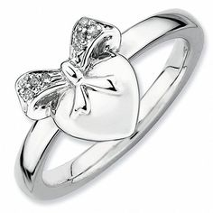 "Zales Stackable Expressionsâ""¢ Diamond Accent Heart with Bow Ring in Sterling Silver"