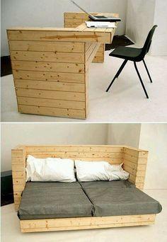 2 en 1 bureau - lit (objet et meuble en palette)