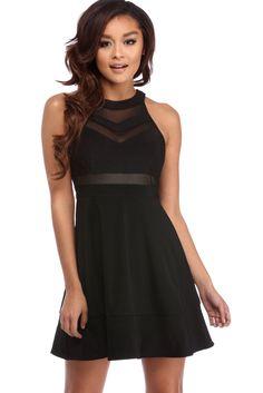 Black Illusion Skater Dress