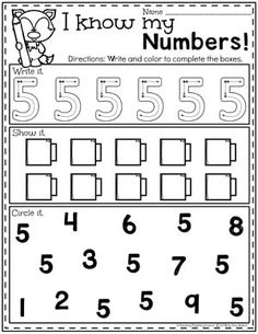 Preschool Numbers Worksheets - Number 5 Looking for a fun Preschool Math Unit? This set is all about numbers and counting for numbers Kids can form numbers, play with them and count them in so many different ways. Preschool Number Worksheets, Teaching Numbers, Numbers Kindergarten, Preschool Curriculum, Math Numbers, Preschool Printables, Preschool Lessons, Teaching Kindergarten, Preschool Learning