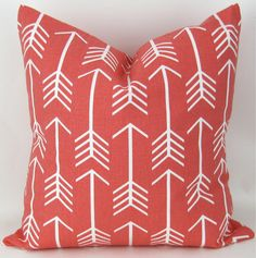 Coral Arrow Pillow Cover -ANY SIZE- Coral Pink Throw Pillow, Euro Sham, Cushion Cover, Coral White Decor, Custom Premier Prints, FREESHIP by DeliciousPillows on Etsy https://www.etsy.com/listing/224952258/coral-arrow-pillow-cover-any-size-coral