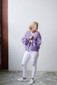 Love Bomber Knitting pattern by Purl Foundry Cardigan Pattern, Knit Cardigan, Purple Cardigan, Knitting Yarn, Knitting Patterns, Thick Yarn, Lang Yarns, Dress Gloves, Knit In The Round