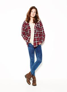 Slouchy Sweater, Flannel Plaid Shirt & Extreme Marble High Waist Super Soft Jegging.