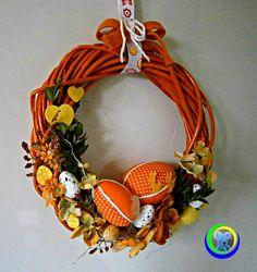 wianek+wielkanocny+pomarańczowy+w+Hand+Made+Lidia+na+DaWanda.com