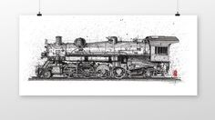 back when locomotives were powered by steam. by coffeeAFTEReight Coffee Wine, Locomotive, Vintage World Maps, Ink, Drawings, Handmade Gifts, Etsy, Kid Craft Gifts, Craft Gifts