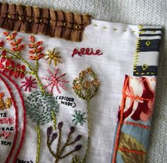 Love the bits of fabric on the edge