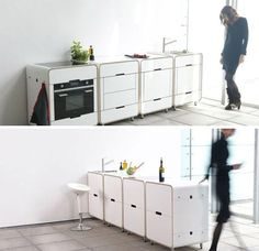 Lovely modular mini kitchen islands: The individual elements serve a standard purpose, but how they relate to one another is up to the person who plans their positions . Loft Kitchen, Basement Kitchen, Mini Kitchen, Kitchen Units, Kitchen Flooring, Kitchen Cabinets, Multifunctional Furniture, Modular Furniture, Small Furniture