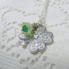 SHAMROCK Necklace - LUCKY Charm - Inspired By Sarah Jessica Parker On Sex And The City - Silver Shamrock - SALE