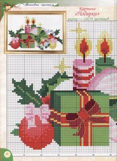Point de croix *♥* Cross stitch cuadro de navidad chart 1