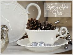 Happy New Year! teacup pinecones mercury glass bird clock teapot
