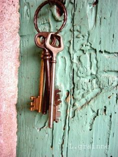 Keys to the Winery - a set of old keys in an cyan blue mint green old wooden door in France - Fine Art Photography print - 8x10 by honeytree #etsy