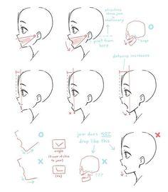 Manga Drawing Tips deel@にゃ ( Drawing Techniques, Drawing Tips, Drawing Sketches, Art Drawings, Drawing Heads, Drawing Base, Side View Drawing, Face Profile Drawing, Side Face Drawing