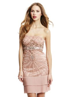 SUE WONG Strapless Dress with Pleated Tier Hem