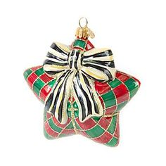 Glass Ornament - Holiday Check Star