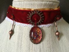 Red Velvet and Lace Choker by BecksCuriousities on Etsy