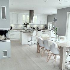 46 most popular scandinavian kitchen ideas 43 Open Plan Kitchen Diner, Open Plan Kitchen Living Room, Kitchen Room Design, Modern Kitchen Design, Dining Room Design, Home Decor Kitchen, Interior Design Kitchen, Home Kitchens, Kitchen Ideas