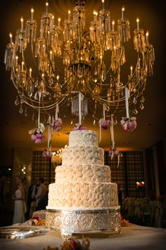Crème de la Crème Cake Company - Fort Worth Cakes - Glamorous four-tier wedding cake with piped ruffle flowers
