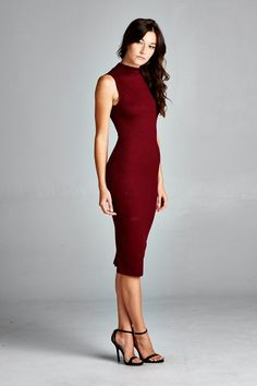Sleeveless, mock neck body con dress with open back detail. An absolute statement piece and must have for any closet. Stretchy but a tight Dress Skirt, Bodycon Dress, Pleated Dresses, Skirt Suit, Prom Dresses, Dress Outfits, Fashion Dresses, Work Outfits, Burgundy Midi Dress