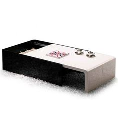 Modern Black And White Lacquered Coffee Table With Storage Sotto   $777