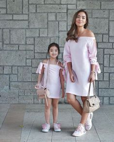 """With our off-the-shoulder dresses and our purses Mommy and I can go shopping. Mommy Daughter Dresses, Mother Daughter Matching Outfits, Mother Daughter Fashion, Mom Daughter, Mom And Baby Outfits, Family Outfits, Baby Girl Dresses, Baby Dress, Kids Outfits"