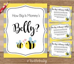 How Big Is Mommy's Belly Baby Shower Game Yellow by ohellobaby