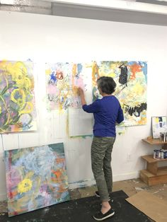 Busy in my wonderful painting space, Spring 2021 Abstract Painters, Gouache, Space, Spring, Wall, Painting, Floor Space, Painting Art, Walls