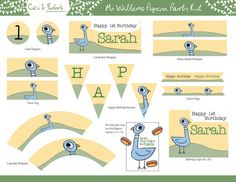 Mo Willems Pigeon Theme Birthday Party Printable Set - Cupcake Toppers, Party Banner. Straw Flags & more - By Cici and Bobo on Etsy, $28.99