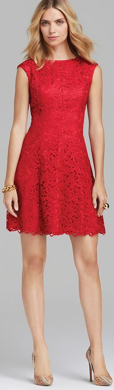Adrianna Papell Short Lace Fit & Flare Dress