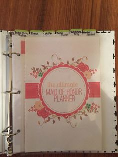 Maid of Honor Wedding Planner Book Wedding by OrganizedBride