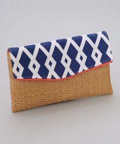 Look at this #zulilyfind! Navy Diamond & Straw Diaper Clutch #zulilyfinds