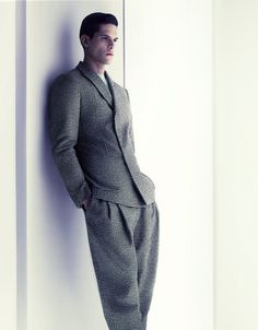 For the ad campaign of Armani fall the creative duo of photographers Mert and Marcus emphasizes the powerful and sophisticated imagery of Armani's woman; Armani Suits, Armani Men, Giorgio Armani, Dapper Gentleman, Dapper Men, Herringbone Suit, Armani Store, Fashion Models, Mens Fashion