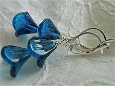 Flower EarringsLittle Glass Bluebells by JoJosgems on Etsy, $15.00