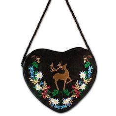 Herz-Trachtentasche * Dirndltasche Hirsch mit Blumenranke (schwarz)
