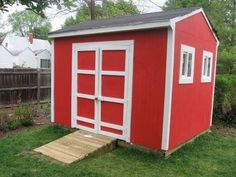 How to Build a Small Storage Shed. Storage sheds are perfect places to keep garden tools, supplies, lawn mowers and other outdoor equipment. An 8- by 4-foot shed is easy to build and is durable. Most people with basic carpentry skills can complete it in two or three days. Lock the double doors with a hasp and padlock for access and security. Add shelving to customize the shed to your needs.