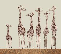 Nursery Cute six giraffe family giraffes home Art Decals Wall Sticker Vinyl Wall Decal stickers living room bed baby room A717