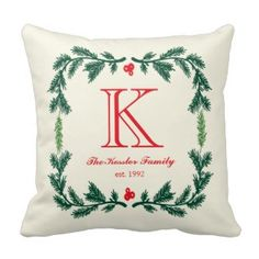 Elegant Pine Monogram Holiday Throw Pillow Christmas Holiday Throw Pillows 25% Off Sitewide!  Friends and family sale   Use Code: FRIENDZNFAMZ   Last day 10/20