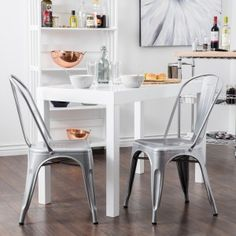 BELLEZE Set of (4) Metal Chairs Side Dining Steel High Back Counter (Silver)